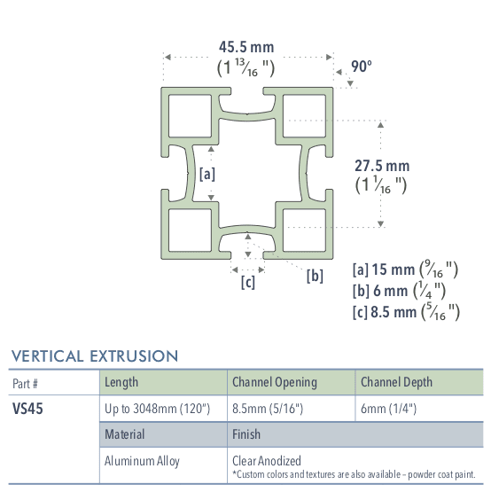 Specifications for VS45/72/L