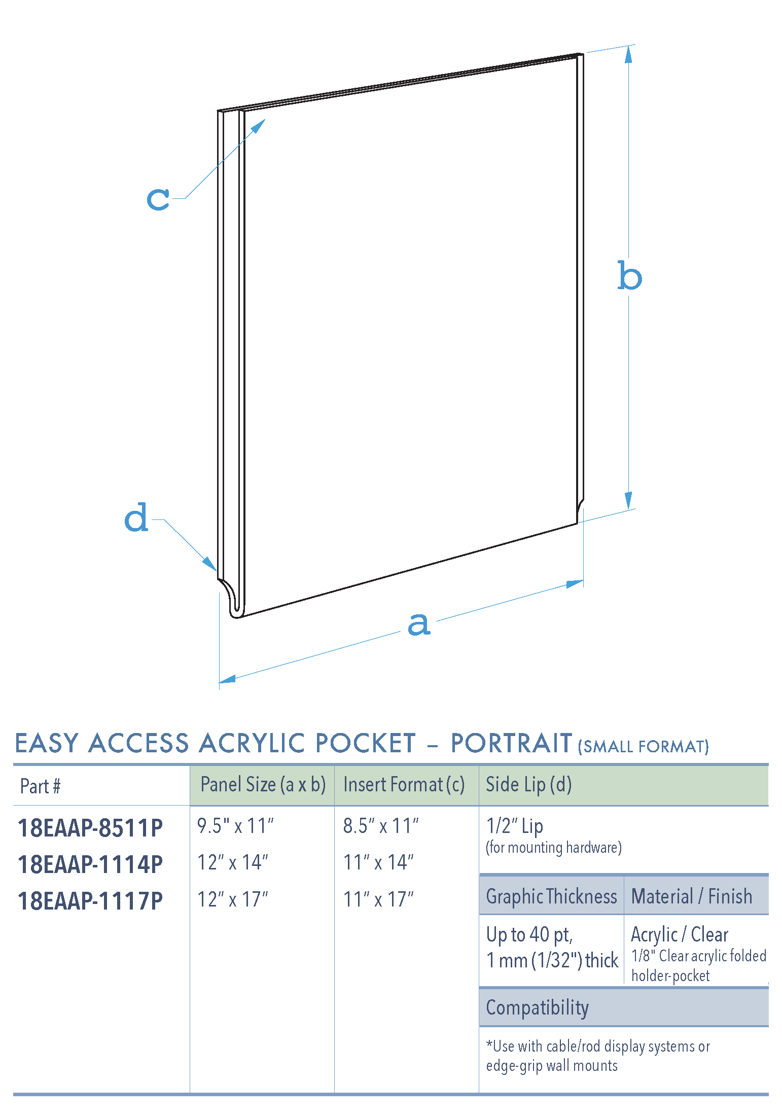 Specifications for 18EAAP-INSERT-PORTRAIT-SM