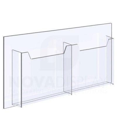 14ALD-2-8511L-25 1/8″ Clear Acrylic Leaflet Dispenser / Literature Holder – Double Pocket / Landscape