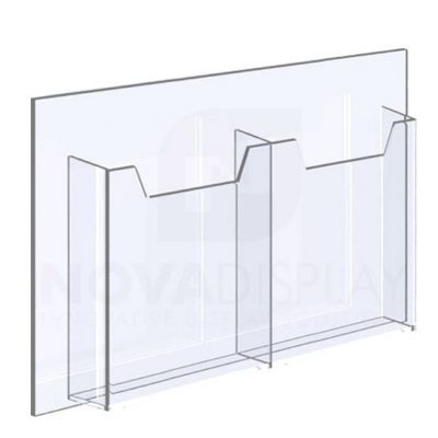 14ALD-2-8511P-19>25 1/8″ Clear Acrylic Leaflet Dispenser / Literature Holder – Double Pocket / Portrait