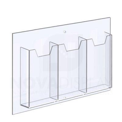 14ALD-3-3585P-IP 1/8″ Clear Acrylic Leaflet Dispenser / Literature Holder – Treble Pocket