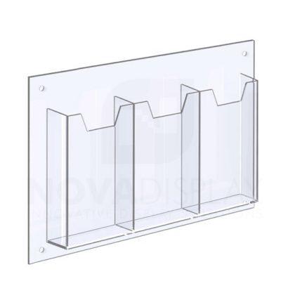 14ALD-3-3585P-RS 1/8″ Clear Acrylic Leaflet Dispenser / Literature Holder – Treble Pocket