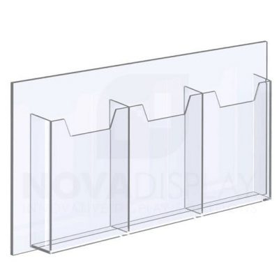 14ALD-3-6585P-23>25 1/8″ Clear acrylic leaflet-holder (with 1/4″ base) designed to take letter size literature / magazines