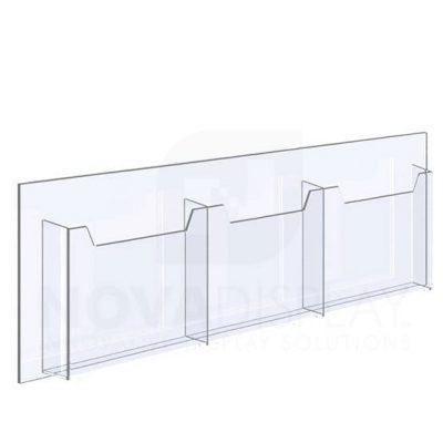 14ALD-3-8511L-36 1/8″ Clear Acrylic Leaflet Dispenser / Literature Holder – Treble Pocket / Landscape