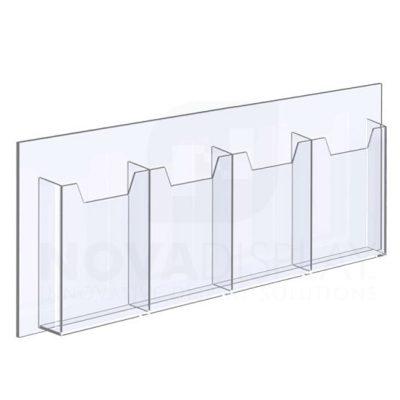 14ALD-4-6585-28 1/8″ Clear Acrylic Leaflet Dispenser / Literature Holder – Four Pocket