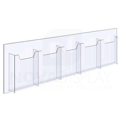 14ALD-5-0510P-28 1/8″ Clear Acrylic Leaflet Dispenser / Literature Holder – Five Pocket