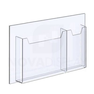 14ALD-MIX01-17 1/8″ Clear Acrylic Leaflet Dispenser / Literature Holder – Double Pocket - Mixed Format