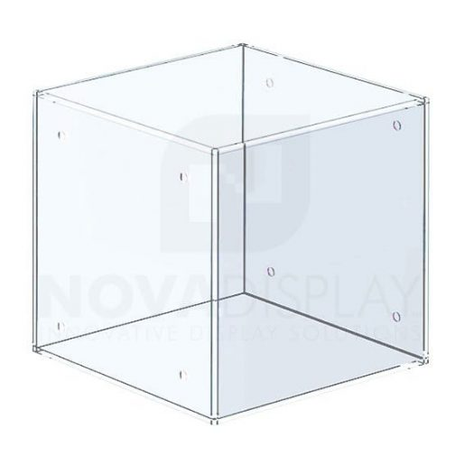 Non-Lit Acrylic Open Display Case (Five Sided) – All Clear