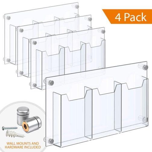 1/8″ Clear Acrylic Leaflet Dispenser / Literature Holder – Treble Pocket