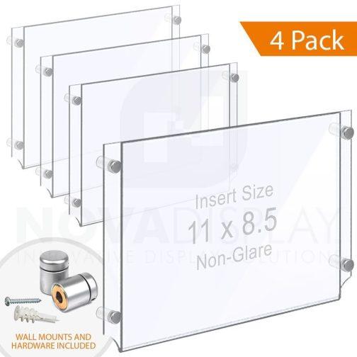 Wall Mounted Acrylic Poster Holder / Easy Access Acrylic Pocket Frame – Non-Glare / 4 pcs