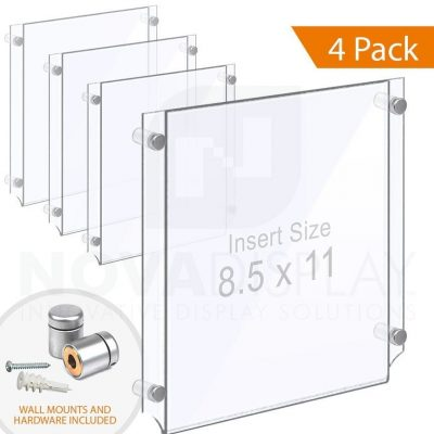 Wall Mounted Acrylic Poster Holder / Easy Access Acrylic Pocket Frame – Clear / 4 pcs