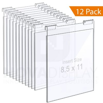 Clear Acrylic Hook-on Info/Poster Holder – Letter Format. Portrait Orientation / 12 pcs