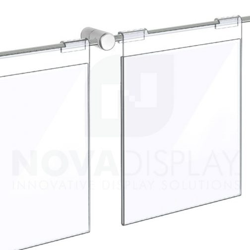 Clear Acrylic Hook-on Info/Poster Holder – Letter Format. Horizontal Rod Assembly