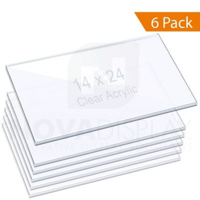 3/8″ (10mm) Clear Acrylic Shelf with Laser-Cut Polished Edges / 6 pcs