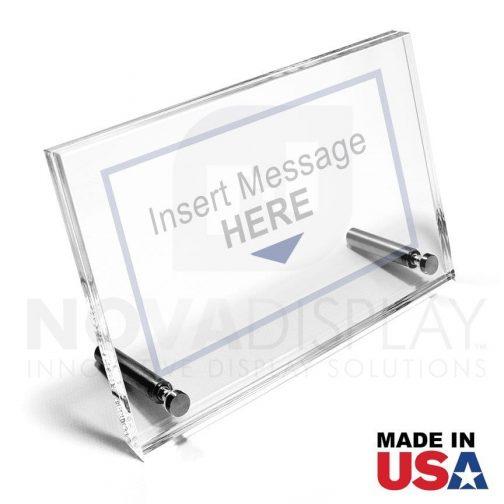 Desktop Acrylic Sign Frame. Set of 1/8″ Clear & 1/8″ Non-Glare Acrylic Blanks with Laser-Cut Polished Edges / 4 pcs
