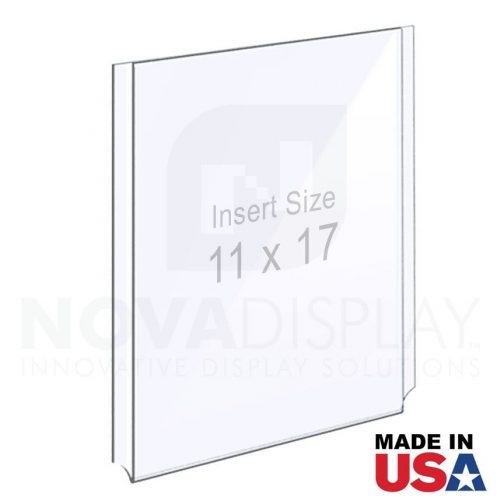 1/8″ Clear Acrylic Easy Access Info/Poster Holder – Ledger/Tabloid Format. Portrait Orientation