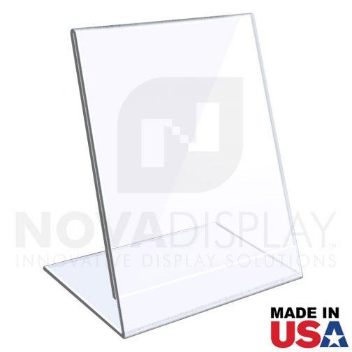 1/8″ Crystal Clear Acrylic Sign Holder / Slant Back Display Easel – Portrait Orientation