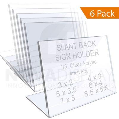 1/8″ Crystal Clear Acrylic Sign Holder / Slant Back Display Easel – Landscape Orientation