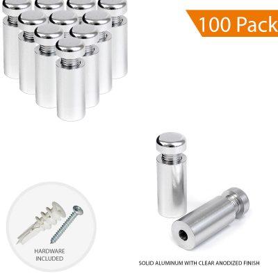 1/2″ Dia. x 1″ Economy Aluminum Sign Standoff (2-Part Standoff with M10 Stud-Cap)