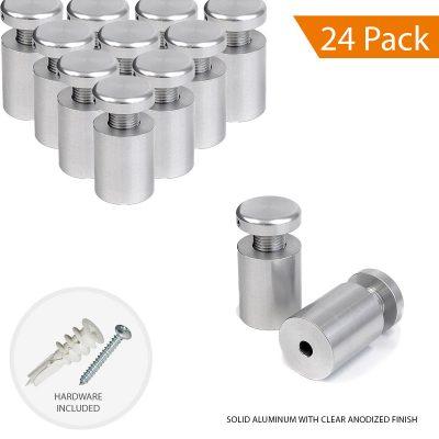 3/4″ Dia. x 1″ Economy Aluminum Sign Standoff (2-Part Standoff with M10 Stud-Cap)