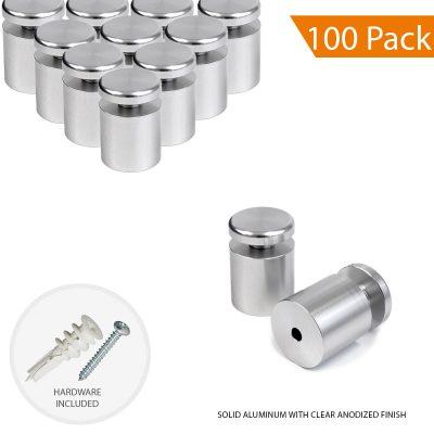 1″ Dia. x 1″ Economy Aluminum Sign Standoff (2-Part Standoff with M10 Stud-Cap)