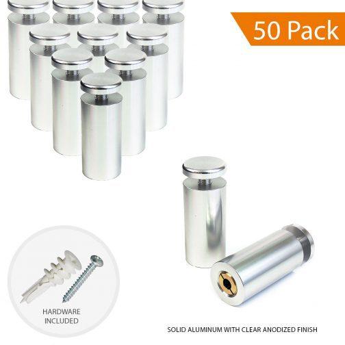 1″ Dia. x 2″ Aluminum Sign Standoff (3-Part Standoff with M8 Stud-Cap)