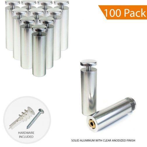 1″ Dia. x 3″ Aluminum Sign Standoff (3-Part Standoff with M8 Stud-Cap)