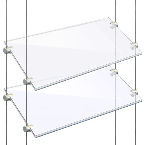 Nova Display Systems / Cable/Rod Suspended Acrylic & Glass Shelves