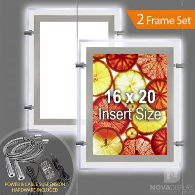 "LP-1620P Glow-Edge LED Backlit Window Display with Cable Suspension Set / Insert Size 16"" x 20"""