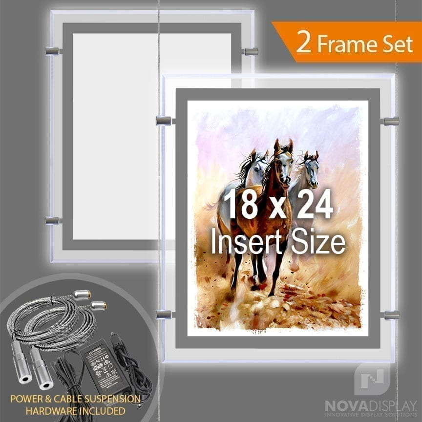 "LP-1824P Glow-Edge LED Backlit Window Display with Cable Suspension Set / Insert Size 18"" x 24"""