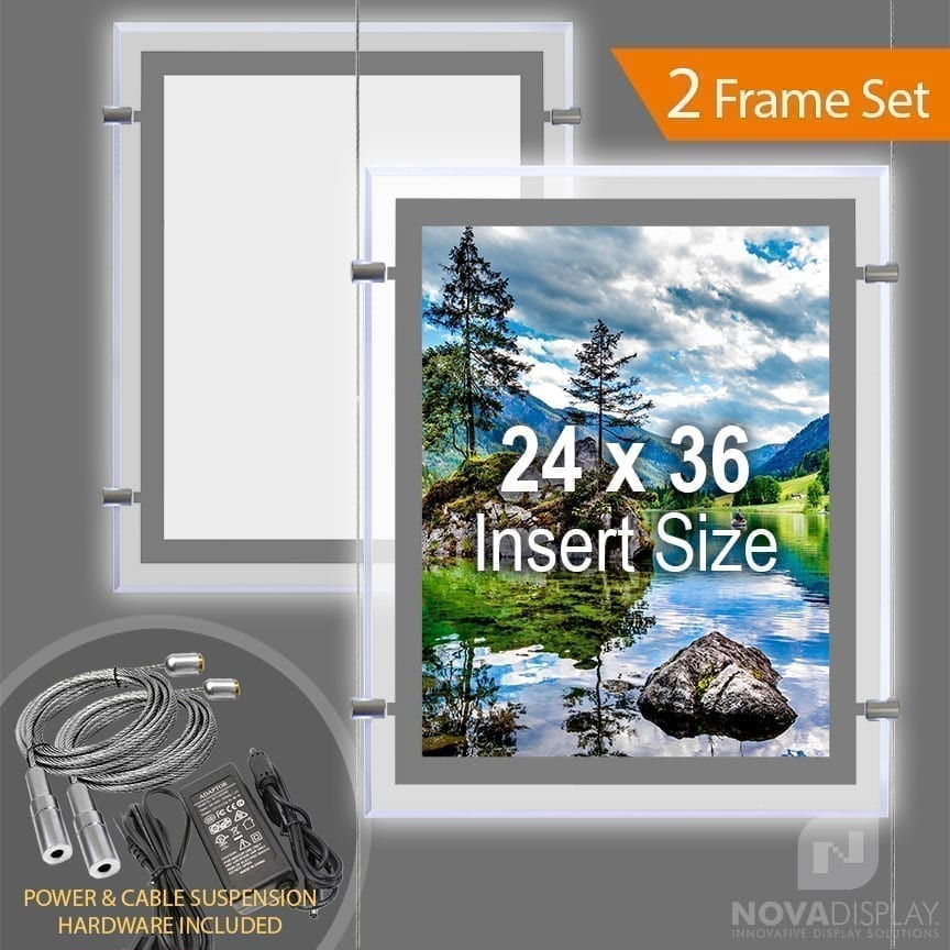 "LP-2436P Glow-Edge LED Backlit Window Display with Cable Suspension Set / Insert Size 24"" x 36"""