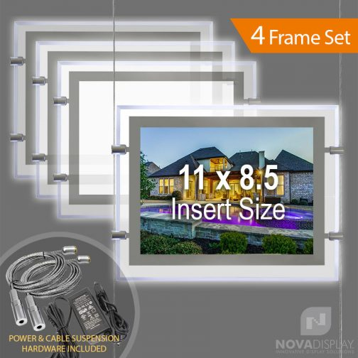 """LP-8511L Glow-Edge LED Backlit Window Display with Cable Suspension Set / Insert Size 11"""" x 8.5"""""""