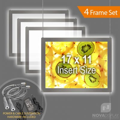 "LPC-1117L Glow-Edge LED Backlit Window Display with Cable Suspension Set / Insert Size 17"" x 11"""