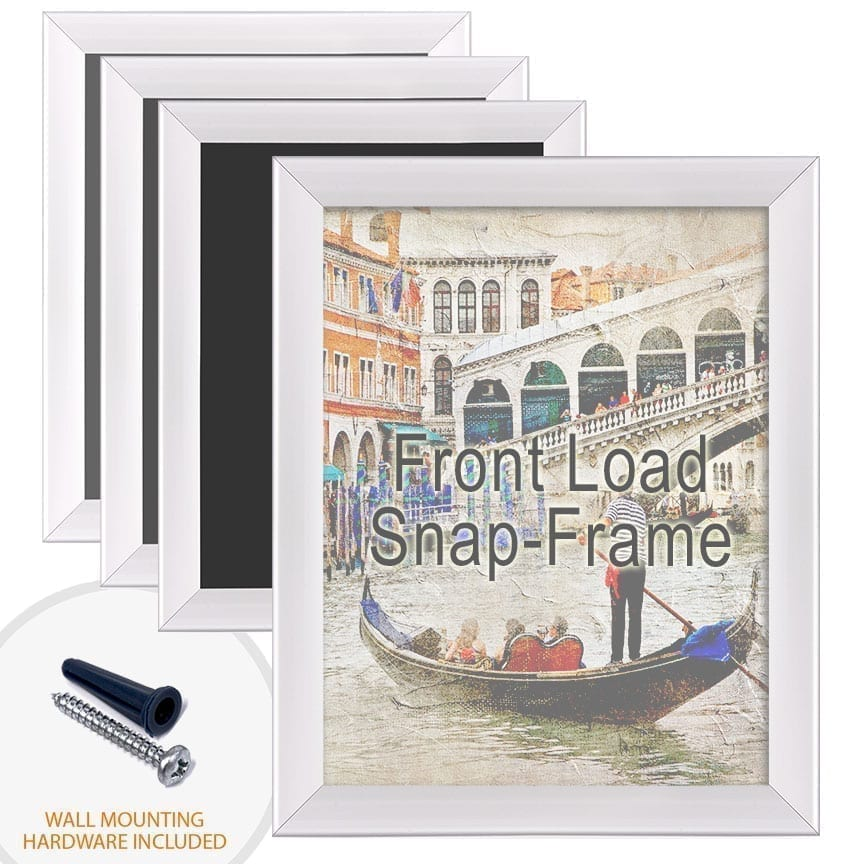 Aluminum Poster Snap Frames with Front Load Option for Thin Graphic Substrates / Round Frame Profile / 4 pcs
