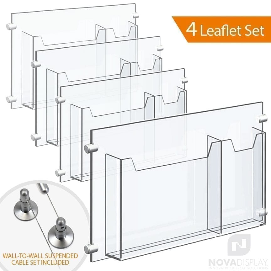 Wall-to-Wall Cable Suspended 1/8″ Clear Acrylic Literature Holder (with 1/4″ Base) – Double Pocket / 4 PCS SET