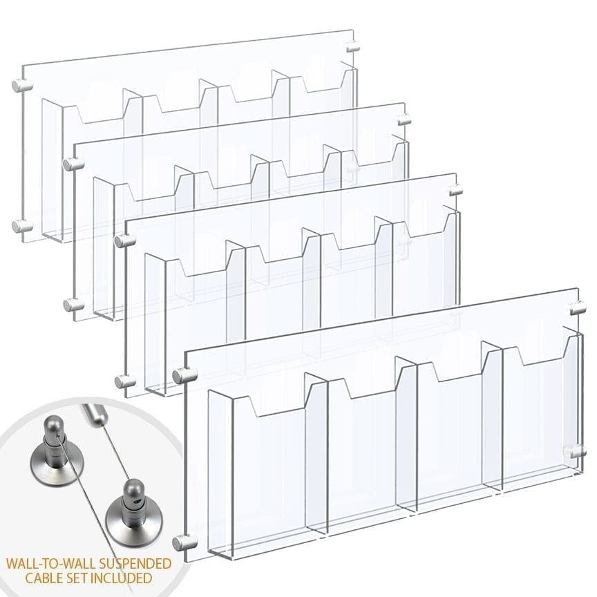 Wall-to-Wall Cable Suspended 1/8″ Clear Acrylic Literature Holder (with 1/4″ Base) – Four Pocket / 4 PCS SET