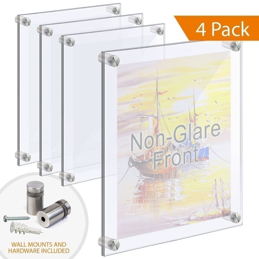 Large Acrylic Frames Wall Mounted with Standoffs