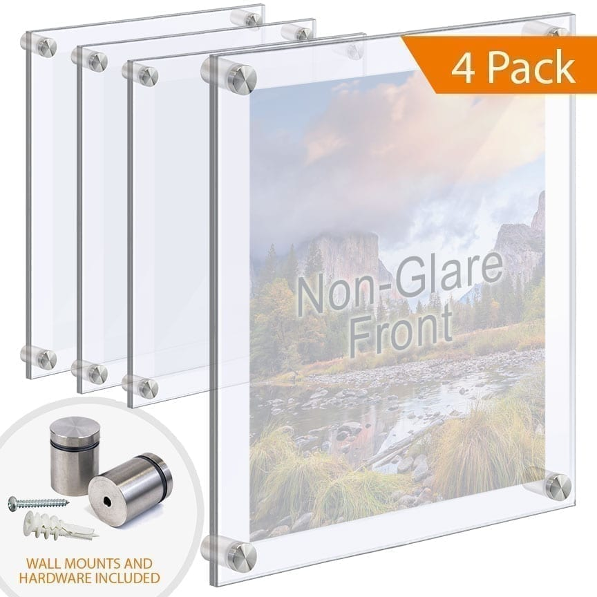 Extra-Large Acrylic Frames Wall Mounted with Standoffs