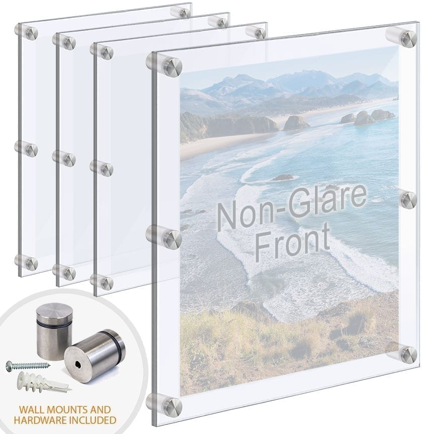 Oversized Acrylic Frames Wall Mounted with Standoffs