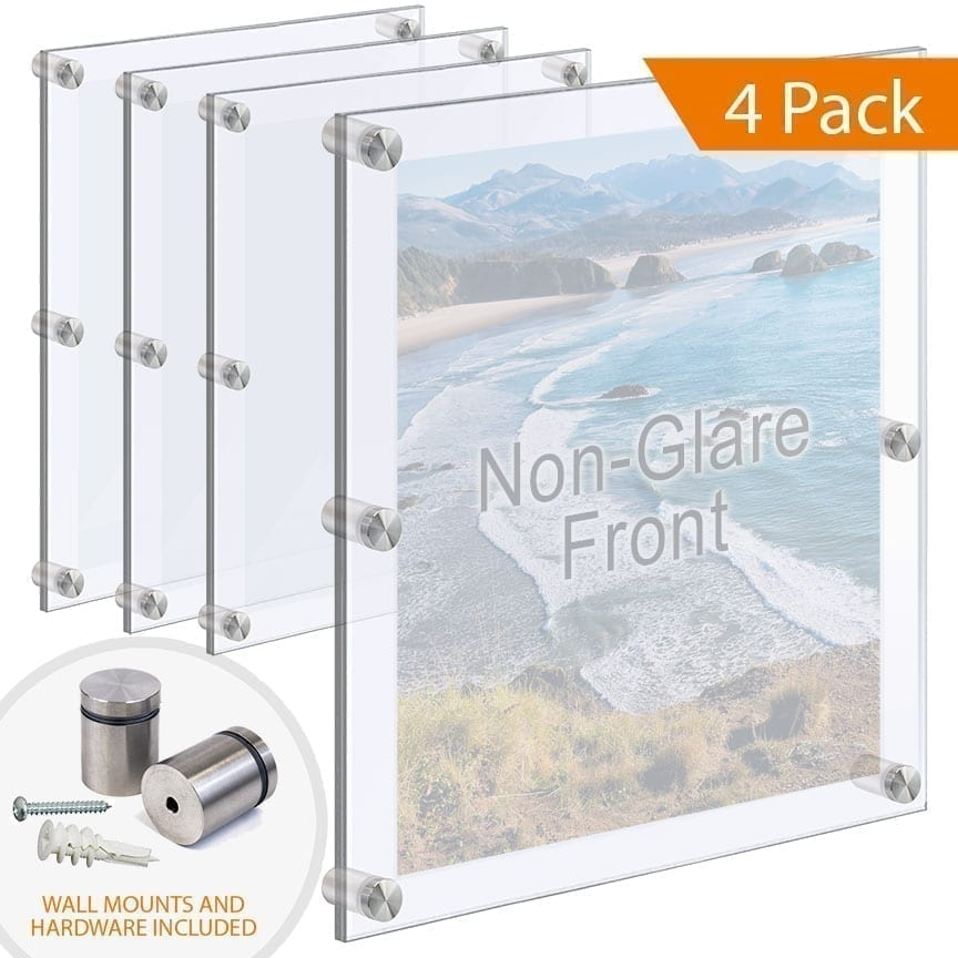 Oversize Acrylic Frames Wall Mounted with Standoffs
