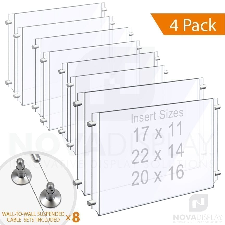 Wall-to-Wall Cable Suspended 1/8″ Clear Acrylic Poster Holder / Landscape Format – Double Pocket