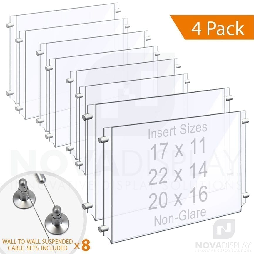 Wall-to-Wall Cable Suspended 1/8″ Non-Glare Acrylic Poster Holder / Landscape Format – Double Pocket