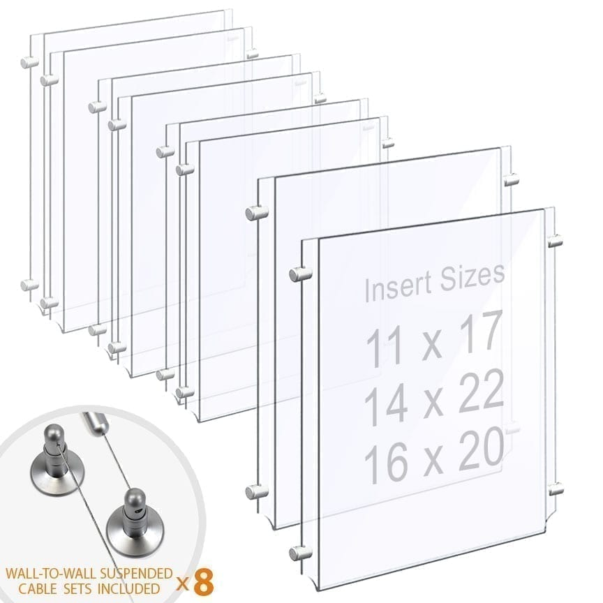 Wall-to-Wall Cable Suspended 1/8″ Clear Acrylic Poster Holder / Portrait Format – Double Pocket