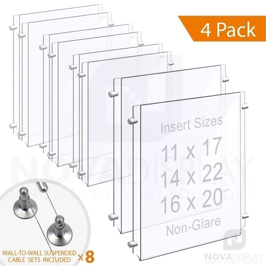 Wall-to-Wall Cable Suspended 1/8″ Non-Glare Acrylic Poster Holder / Portrait Format – Double Pocket