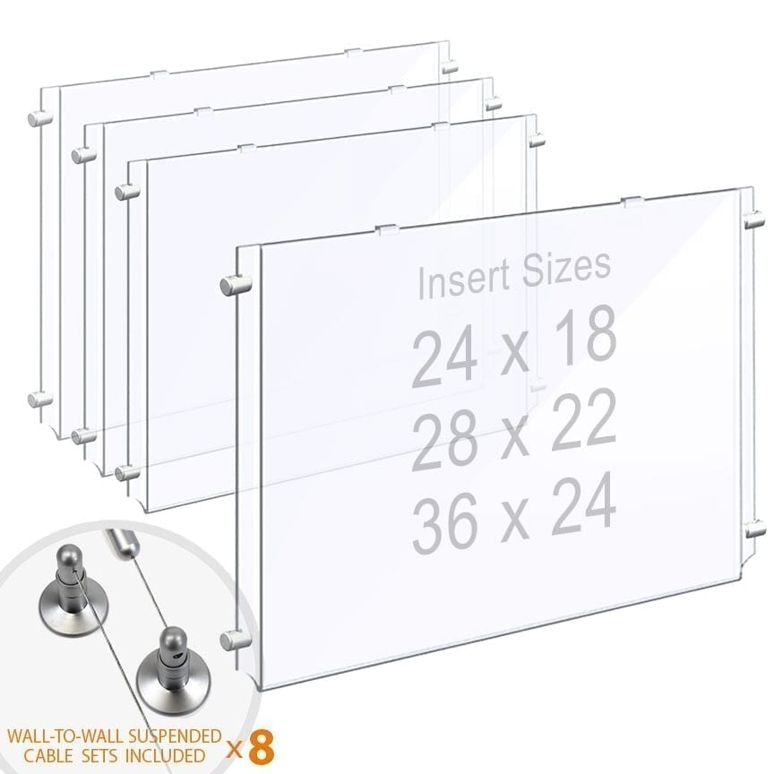 Wall-to-Wall Cable Suspended 1/8″ Clear Acrylic Poster Holder / Landscape Format – Single Pocket