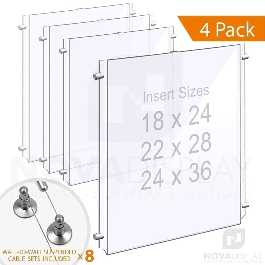 Wall-to-Wall Cable Suspended 1/8″ Clear Acrylic Poster Holder / Portrait Format – Single Pocket