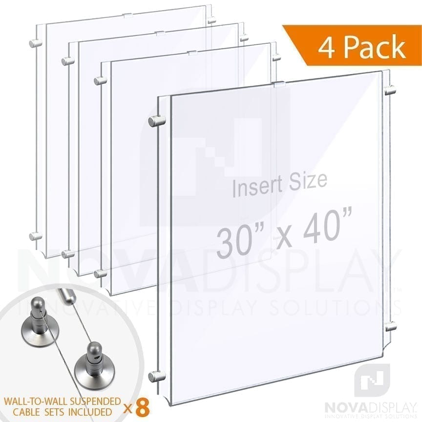 Wall-to-Wall Cable Suspended 1/8″ Clear Acrylic Poster Holder / Portrait Format