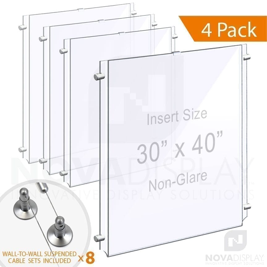 Wall-to-Wall Cable Suspended 1/8″ Non-Glare Acrylic Poster Holder / Portrait Format