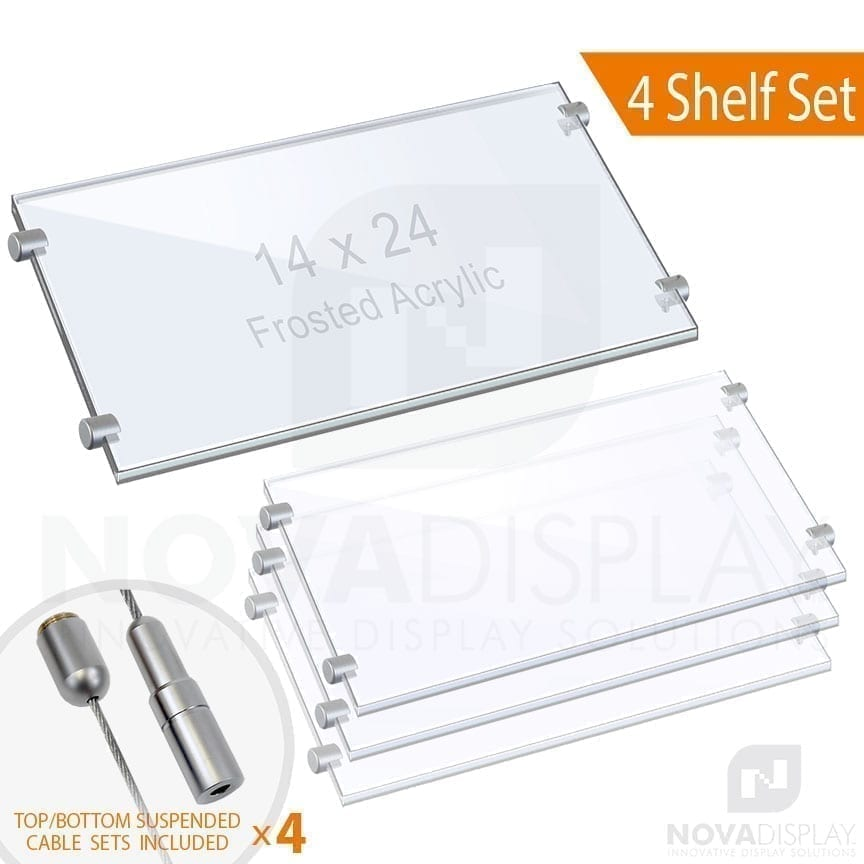 Cable Suspended 3/8″ Frosted Acrylic Shelf Display with Laser-Cut Polished Edges