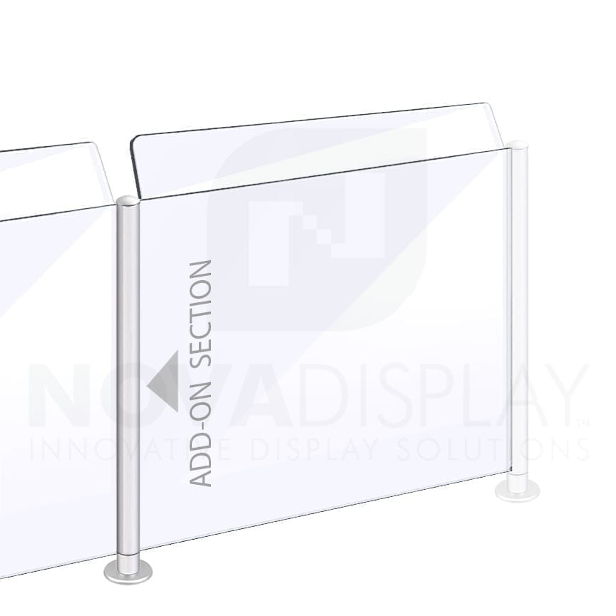Countertop Acrylic Sneeze Guard / Modular – Supported with 25mm Dia. Aluminum Rail Systems